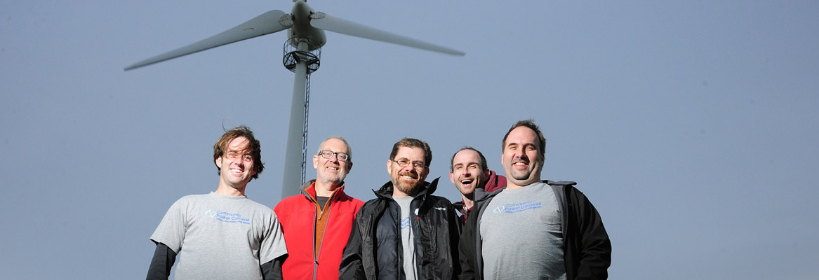 Image: Community Power Cornwall Board members at Gorran Turbine event - Nov 2014